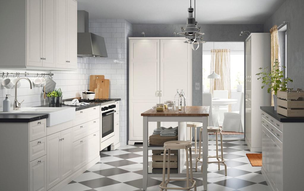 checkered tile floor in kitchen