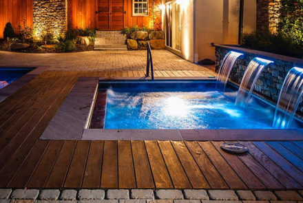 hardwood deck and waterfall spa