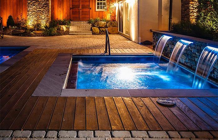 hardwood deck and waterfall spa