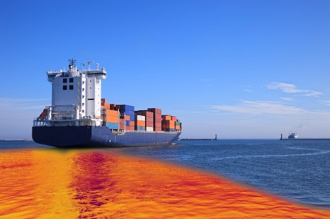 leaking oil from cargo ship