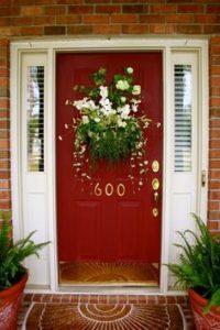 Door with flower basket